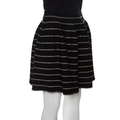 Alaia Monochrome Embossed Jacquard Knit High Waist Mini Skirt M 151012 - 1