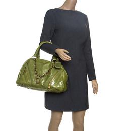 Prada Green Vitello Shine Leather Bowler Bag 151015