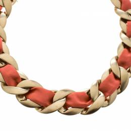 Chanel Pink Fabric Gold Tone Chain Link Choker Necklace 151905
