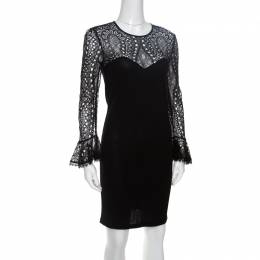 Emilio Pucci Black Lace Bodice Detail Wool Dress S