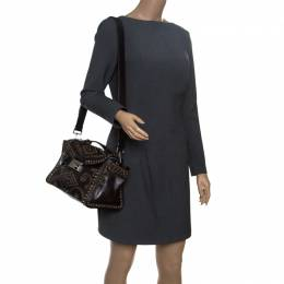 Prada Dark Brown Vitello Vintage Leather Eyelet Crystal Embellished Top Handle Bag 150994