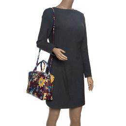 Prada Burgundy Saffiano Print Leather Top Handle Bauletto Bag 150981