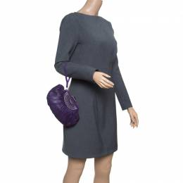 Dior Purple Pleated Leather Frame Clutch 151585