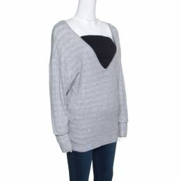 Chanel Grey Cotton Knit V-Neck Sweater M 154107
