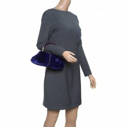 Dior Indigo Blue/Lilac Velvet and Snakeskin Top Handle Bag 151430
