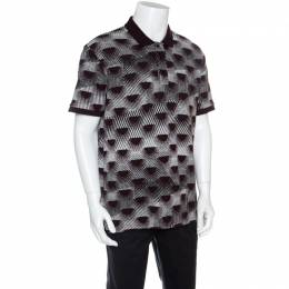 Kenzo Burgundy and White Patterned Knit Polo T-Shirt XL