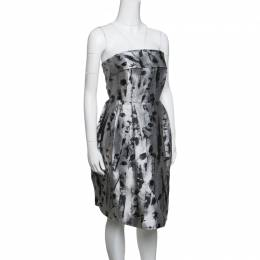 Ch Carolina Herrera Silver and Black Floral Jacquard Strapless Dress S 146545