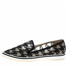 Nicholas Kirkwood Black Mesh and Fabric Alona Hound's Tooth Emroidered Pointed Toe Loafers Size 38 150349