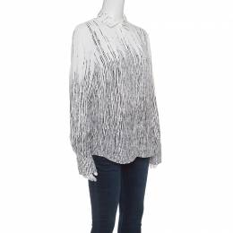 Balenciaga Monochrome Broken Abstract Stripe Print Long Sleeve Shirt S 148711