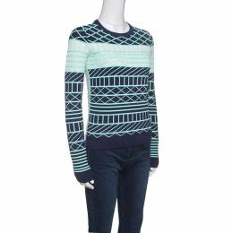 Kenzo Oui Non Navy Blue and Green Jacquard Knit Sweater XS 147718