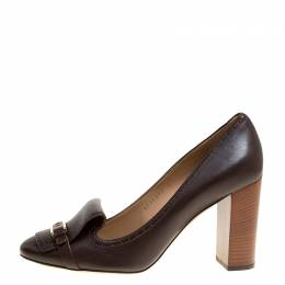 Salvatore Ferragamo Brown Leather Ninu Pumps Size 40.5 149518