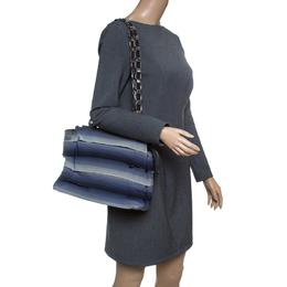 Salvatore Ferragamo Blue Ombre Canvas Shoulder Bag 146988