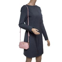 Prada Pink Saffiano Lux Leather Camera Crossbody Bag 147565
