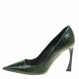 Dior Green Crackled Leather Pointed Toe Pumps Size 38 150438