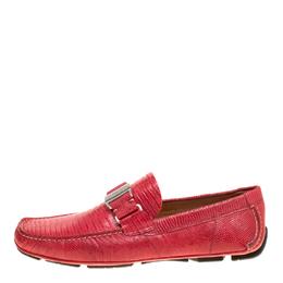 Salvatore Ferragamo Coral Red Lizard Sardegna Loafers Size 41.5 148170