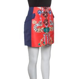 Mary Katrantzou Multicolor Printed Kalion Double Satin Mini Skirt M 147164