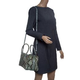 Prada Mint Green/Black Python Bowling Bag 147490
