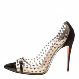 Christian Louboutin Black Studded PVC and Suede Bille Et Boule Bow Pointed Toe Pumps Size 40.5 143632