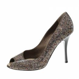 Rene Caovilla Satin Crystal Embellished Peep Toe Pumps Size 38 143687