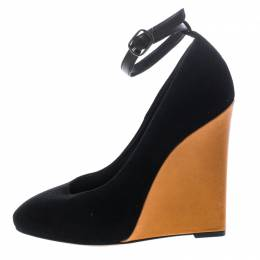 Cèline Black Suede Color Block Wedge Ankle Strap Pumps Size 38 Celine