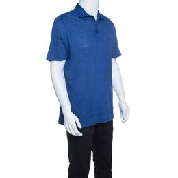 Ermenegildo Zegna Blue Slub Linen Short Sleeve Polo T-Shirt L 145109