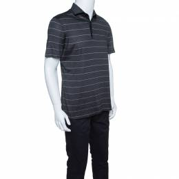 Ermenegildo Zegna Silk Grey and Pink Striped Polo T-Shirt L 145101
