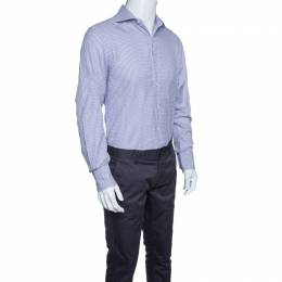 Tom Ford Purple and White Checkered Cotton Button Front Shirt L 146005