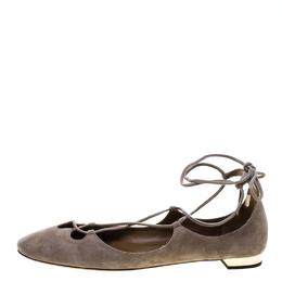 Aquazzura Beige Suede Dancer Lace Up Ballet Flats Size 40 144424