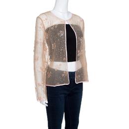 Mary Katrantzou Beige Floral Glitter Embellished Tulle Jacket M 143418
