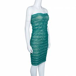 Emporio Armani Green Puckered Mesh Applique Detail Tube Dress M 145393