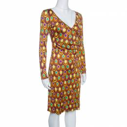 Emilio Pucci Multicolor Printed Silk Jersey Long Sleeve Dress S 143248