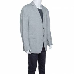 John Varvatos Grey Slub Linen Tailored Blazer XXL 145961