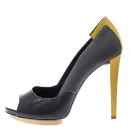 Balenciaga Grey/Yellow Canvas and Leather Peep Toe Pumps Size 38.5 145701