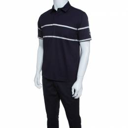 Z Zegna Technomerino Navy Blue Contrast Striped Wool Jersey Polo T-Shirt M 145700
