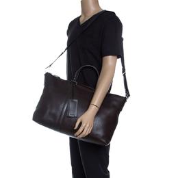 Prada Dark Brown Leather Luggage Weekender Bag 143272