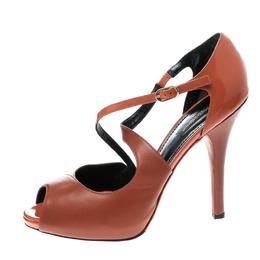 Dolce&Gabbana Orange Leather Peep Toe Strappy Sandals Size 40 143659