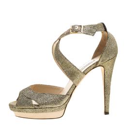 Jimmy Choo Metallic Silver Lamé Glitter Fabric Kuki Platform Sandals Size 41 143284