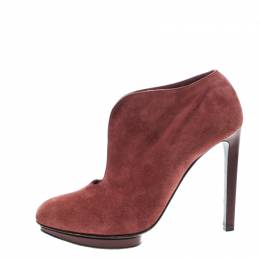 Alexander McQueen Red Suede Ankle Boots Size 37.5 143627