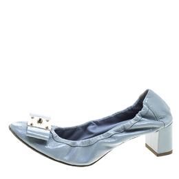 Fendi Powder Blue Patent Leather Bow Detail Block Heel Scrunch Pumps Size 37.5 143901