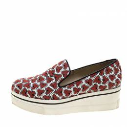 Stella McCartney Abstract Print Canvas Platform Slip On Sneakers Size 39 144693