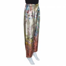 Etro Multicolor Floral Printed Waist Tie Detail Silk Brocade Pants S 143137