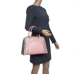 Prada Blush Pink/Burgundy Saffiano Lux Leather Pyramid Frame Top Handle Bag 143159
