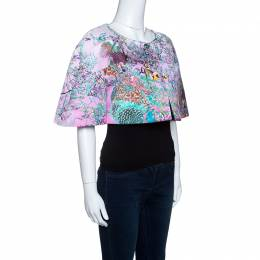 Mary Katrantzou Pink Pavona Berry Print Cropped Matado Jacket S 143142