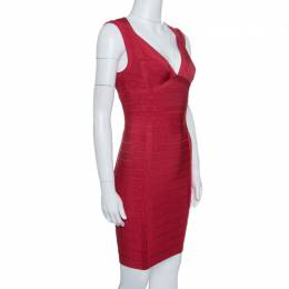 Herve Leger Lipstick Red Sleeveless Darby Bandage Dress S 143286