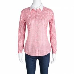 Etro Pink Marine Life Printed Cotton Contrast Cuff and Collar Long Sleeve Shirt S