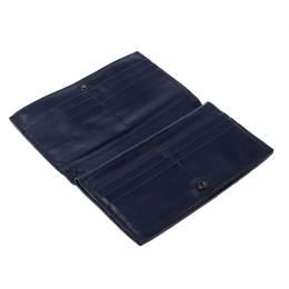 Bottega Veneta Blue Intrecciato Leather Trifold Continental Wallet 142019