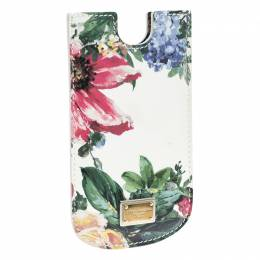 Dolce&Gabbana White Floral Print Patent Leather IPhone 5 Case 140325
