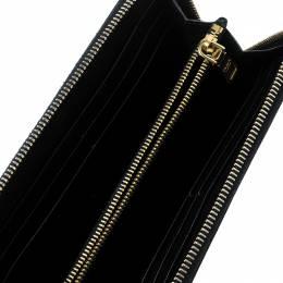 Prada Black Saffiano Vernic Leather Zip Around Wallet 138988