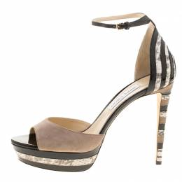 Jimmy Choo Beige Suede and Elaphe Leather Trim Max Ankle Strap Platform Sandals Size 41 141327