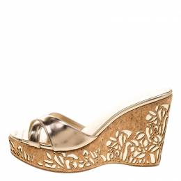 Jimmy Choo Metallic Gold Leather Prova Laser Cut Cork Wedge Sandals Size 40 140521